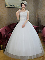Ball Gown Wedding Dress-White Floor-length Scoop Lace / Satin / Tulle
