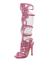 Women's Shoes Leatherette Stiletto Heel Heels / Peep Toe Sandals Party & Evening Black / Pink