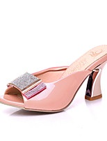 Women's Shoes Chunky Heel Heels / Peep Toe / Slippers Heels Casual Pink / Purple / White / Coral