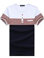 Men's Striped / Patchwork Casual / Plus Sizes T-Shirt,Cotton Short Sleeve-Blue / Orange / White