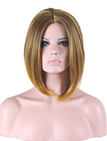 Top Quality New Golden Blonde Brown Middle Long Straight Hair Synthetic Wigs
