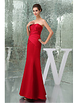 Formal Evening Dress Trumpet / Mermaid Strapless Floor-length Satin with Side Draping