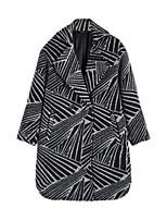 Women's Color Block Black Pea Coats,Simple Long Sleeve Nylon
