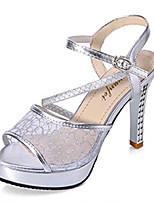 Damenschuhe-Sandalen / High Heels-Hochzeit / Kleid / Lässig / Party & Festivität-PU-Stöckelabsatz-Absätze-Silber / Gold