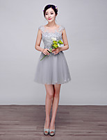 Cocktail Party Dress-Silver Ball Gown Scoop Knee-length Lace / Satin / Stretch Satin