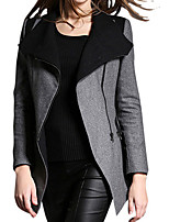 Women's Patchwork Gray Coat,Simple Long Sleeve Polyester