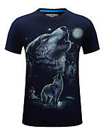 Men's Short Sleeve T-Shirt,Cotton / Acrylic Casual / Sport Print 916105