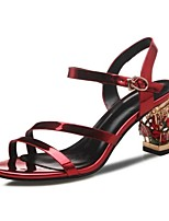 Women's Shoes Leather Chunky Heel Heels Sandals Wedding / Party & Evening / Dress Red / Silver