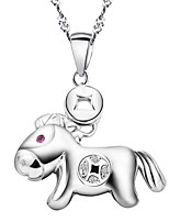 TOP 2016 Cute Animal Statement Necklace Real 925 Silver Tiny Horse Pendant Link Chain Women Costume Accessories