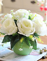 7 Heads Silk Rose + Sphere Vase Set Entirety Floriculture Home Accessories
