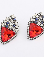 2016 New Summer Style Double Side Red Triangle Full Rhinestone Stud Earrings For Trendy Women Fine Jewelry