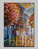 Lager Hand Painted Raining Street Landscape Oil Painting Abstract Wall Art Paintings For Living Room Home Whit Frame