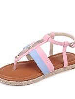 Chaussures Femme-Extérieure / Habillé / Décontracté-Noir / Vert / Rose-Talon Plat-Nouveauté-Sandales-Matières Personnalisées
