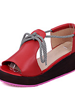 Women's Shoes Platform Creepers / Open Toe Sandals Dress / Casual Pink / Red / White / Silver