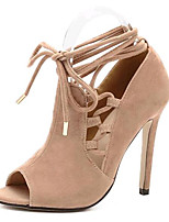 Women's Shoes Fleece Summer Heels Party & Evening Stiletto Heel Lace-up Almond