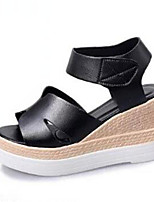 Chaussures Femme-Bureau & Travail / Habillé-Noir / Blanc-Plateforme-Bout Ouvert / Creepers-Sandales-Synthétique