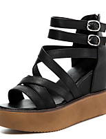 Women's Shoes Synthetic Platform Peep Toe /Creepers Sandals Office & Career / Party & Evening / Dress/Casual Black/White