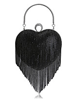 Women Evening Bag Polyester All Seasons Wedding Event/Party Formal Heart Shaped Rhinestone Tassel Clasp Lock Rainbow Silver Black Gold