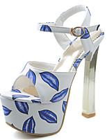 Chaussures Femme-Habillé / Décontracté / Soirée & Evénement-Bleu / Rose-Gros Talon-Talons / Bout Ouvert / A Plateau / A Bride Arrière-