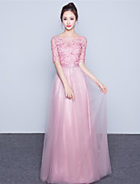 Formal Evening Dress-Blushing Pink Sheath/Column Scoop Floor-length Tulle