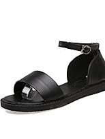 Zapatos de mujer-Tacón Plano-Zapatillas-Sandalias / Pantuflas-Exterior / Vestido / Casual-PU-Negro / Blanco