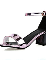Women's Shoes Patent Leather Chunky Heel Round Toe Sandals Dress Black / Gold / Coral