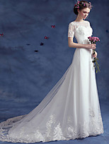 A-line Wedding Dress-White Court Train Bateau Lace / Tulle
