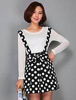 Women's Polka Dot White / Black Skirts,Vintage Above Knee
