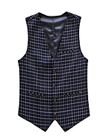 Men's Casual Slim Small Plaid Suit Vest,Cotton / Polyester Formal / Plus Sizes Plaids