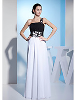 Formal Evening Dress-White A-line One Shoulder Floor-length Chiffon