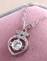 925 Silver Crystal Rhinestone Pendant Long Chain Cubic Zirconia Heart Of Ocean Choker Necklace Vintage Jewelry