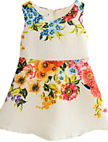 Girl's Pink / White Dress,Floral Polyester Spring / Fall