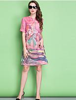 Women's Simple / Street chic Print Plus Size / Chiffon Dress,Round Neck Knee-length Silk / Linen