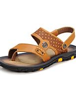 Zapatos de Hombre-Sandalias-Casual-Cuero-Azul / Marrón