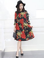 Women's Vintage Print Plus Size Dress,Round Neck Midi Polyester