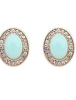 Romatic Oval Candy Color Stone White Rhinestone Stud Earrings Retro Women Shinning Jewelry