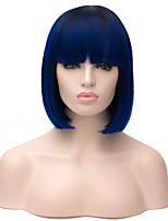 dame fashional perruque synthétique couleur ombre 1b / bleu cheveux résistant à la chaleur bobo droite perruques synthétiques