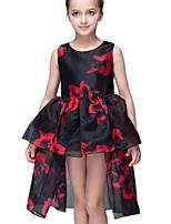 Mädchen Kleid Polyester Sommer Schwarz