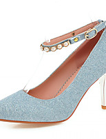 Women's Shoes Leatherette Stiletto Heel Heels Heels Office &/ Dress / Casual Blue / Purple / Silver / Gold