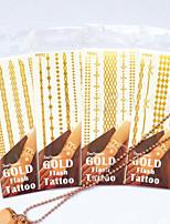 High-end Jewelry Metal Waterproof Flower Arm PVC Bronzing Tattoo Airbrush Tattoo Stencils