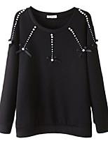 Hoodies Aux femmes Décontracté / Quotidien Simple Imprimé Noir Polyester