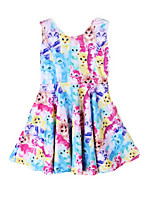 Girl's Blue / Purple / Red Dress Cotton Summer