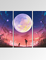 VISUAL STAR®Framed Huge Moon Wall Art for Home Decoration Gril Giclee Print on Canvas Ready to Hang