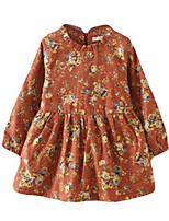 Girl's Dress,Cotton Spring / Fall Black / Orange