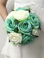 Bouquets de Noiva Redondo Rosas Buquês Casamento / Festa / noite Multi-Côr Cetim 9.84