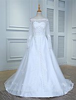 Ball Gown Wedding Dress-Ivory Court Train Off-the-shoulder Tulle