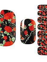 14Pcs/Sheet Стикер искусства ногтя 3D наклейки на ногти Мультипликация / Цветы / Милый макияж Косметические Nail Art Design
