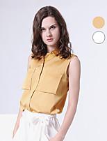 S29® Women's Shirt Collar Sleeveless Shirt & Blouse White-5ST04SL370144001