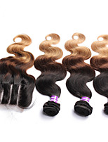 6A Peruvian Virgin Hair Body Wave 4Pcs Ombre Human Hair Bundles With Lace Closure 3 tone 1B427 Ombre Hair With Closure