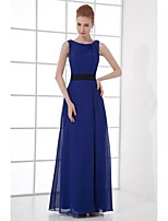 Formal Evening Dress Sheath / Column Scoop Ankle-length Chiffon with Draping / Sash / Ribbon / Side Draping